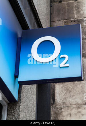 LONDON, UK - JUNE 10TH 2015: The O2 company logo above an O2 store in central London, on 10th June 2015. - Stock Photo