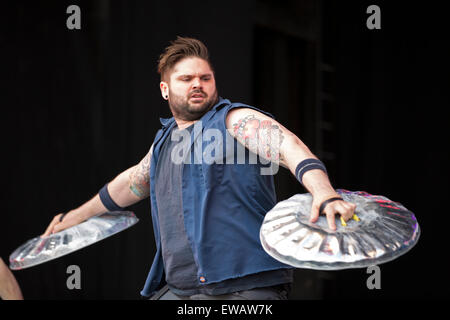 London, UK. 21st June, 2015. Stomp perform at West End Live 2015 in Trafalgar Square. Credit:  Keith Larby/Alamy - Stock Photo