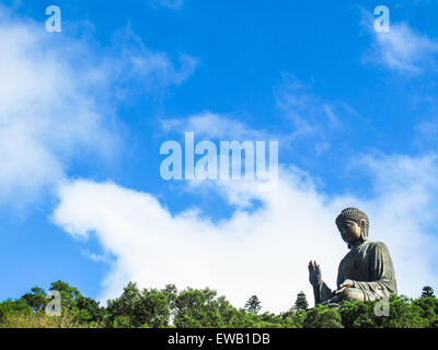 Giant Buddha statue and Po Lin monastery in Hong Kong, Lantau Island China - Stock Photo