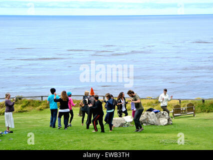 staff at esalen institute party on campus - Stock Photo