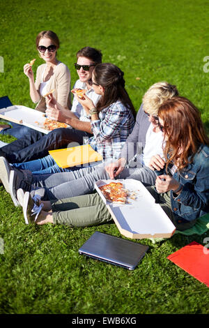 group of teenage students eating pizza on grass - Stock Photo