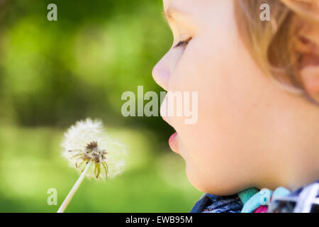Caucasian blond baby girl and dandelion flower in a park, selective focus on lips - Stock Photo