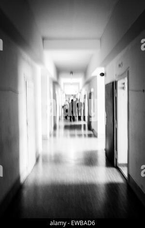 Corridor in the interrogation wing, former Stasi prison, Hohenschönhausen Memorial, Berlin, Germany - Stock Photo