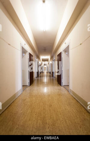 Corridor in the interrogation wing, former Stasi prison, Hohenschönhausen Memorial, Berlin, Germany - Stock Photo