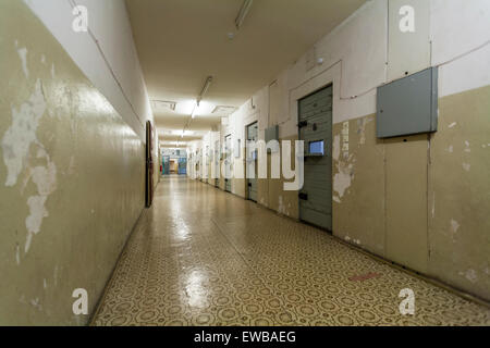 Corridor in the former Stasi prison, Hohenschönhausen Memorial, Berlin, Germany - Stock Photo