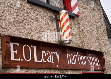 Ireland, Co Wexford, Wexford Town, Selkar Avenue, traditional  sign of O'Learys barber shop - Stock Photo