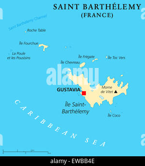 Saint Barthelemy Political Map With Capital Gustavia Territorial - Saint barthelemy map