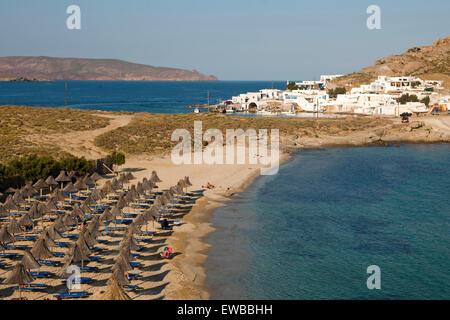 Griechenland, Kykladen, Mykonos, Halbinsel Divounia, Strand von Agia Anna - Stock Photo