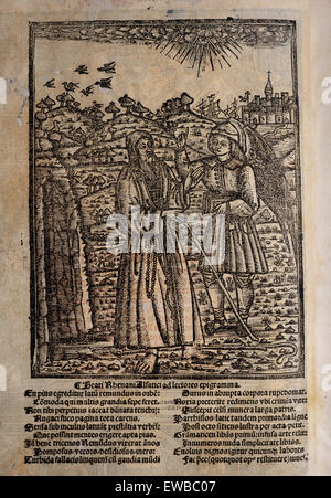 Ramon Llull (1235-1316). Spanish writer and philosopher. Blanquerna, ca. 1293. Engraving of the back cover with - Stock Photo