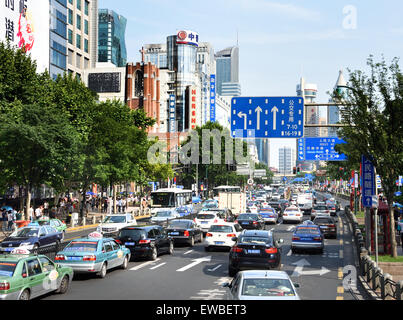 Traffic Shanghai City People's Square Nanjing Road Xizang Road district Huangpu  China Chinese - Stock Photo