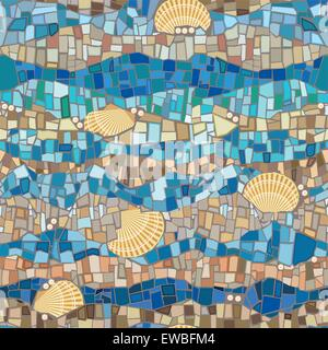 Vector seamless pattern wih shells and mosaic in vintage style. Blue ornament. Sea design - Stock Photo