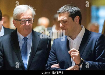 Brussels, Belgium. 22nd June, 2015. European Commission President Jean-Claude Juncker, meets with Greek Prime Minister - Stock Photo
