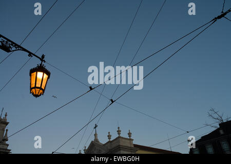 Lisbon, Portugal. tramlines in the evening sky - Stock Photo