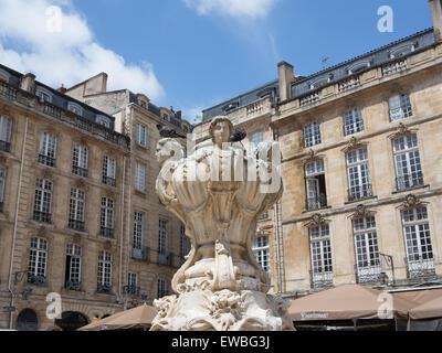 Elegant city square  in Bordeaux, France - Stock Photo