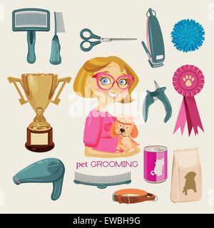 Vector Set: Pet Grooming - Stock Photo