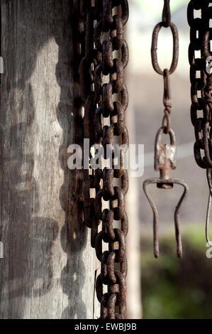 Old rusty iron chain - Stock Photo