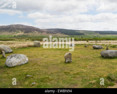 Machrie Moor stone circle Fingal's Cauldron Seat Isle of Arran Scotland best known archaelogical site on Arran with - Stock Photo