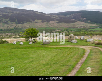 Stone circle on Machrie Moor Isle of Arran Scotland Fingal's Cauldron Seat  best known archaelogical site on Arran - Stock Photo