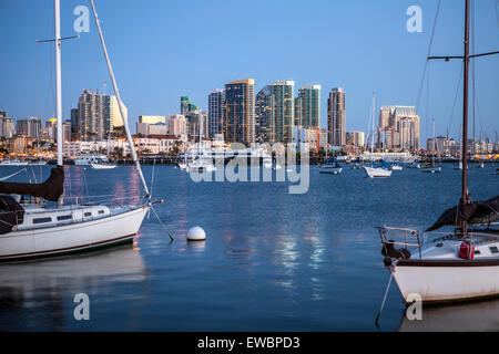 Evening light over San Diego bay in Southern California. - Stock Photo