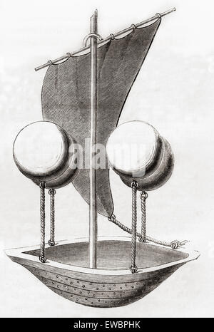 Francesco Lana de Terzi's flying boat concept c.1670. Francesco Lana de Terzi,  1631 – 1687.   Italian Jesuit, mathematician, - Stock Photo
