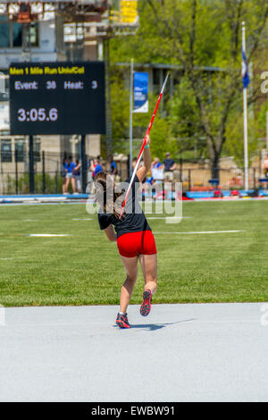Javelin throw for women at the Kentucky Relays.  This was held at the University of Kentucky with outdoor track - Stock Photo