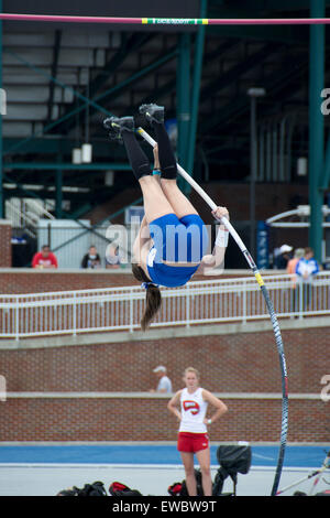 Pole vaulting for women at the Kentucky Relays.  This was held at the University of Kentucky with outdoor track - Stock Photo