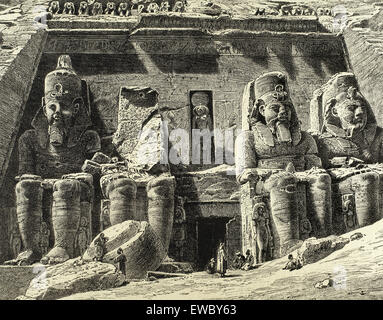 Egypt. Abu Simble. Great Temple of Ramesses II. Engraving. 19th century. - Stock Photo