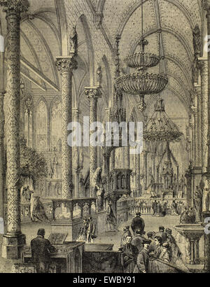 History France. Paris. International Expostion of 1867. Chapel for the exhibition of objects of worship. Engraving. - Stock Photo