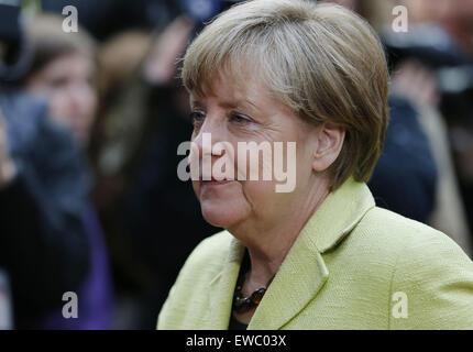 Brussels, Belgium. 22nd June, 2015. German Chancellor Angela Merkel arrives for an emergency Eurozone Summit on - Stock Photo