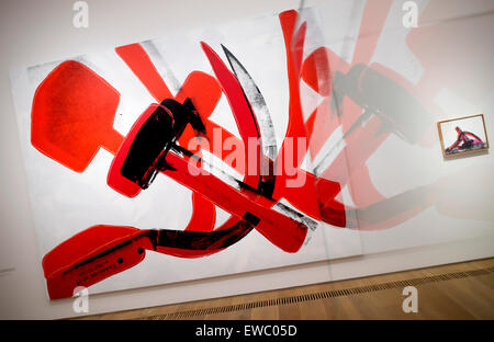 Munich, Germany. 22nd June, 2015. The image 'Hammer and Sickle' by Andy Warhol is on display at the Brandhorst Museum - Stock Photo
