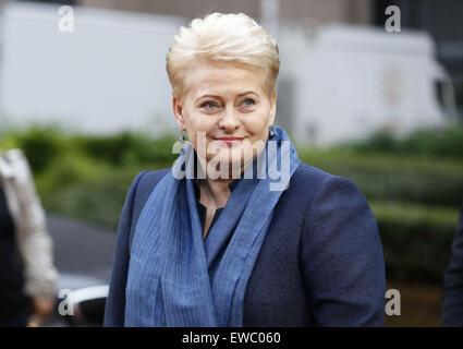 Brussels, Belgium. 22nd June, 2015. Lithuania's President Dalia Grybauskaite arrives for an emergency Eurozone Summit - Stock Photo