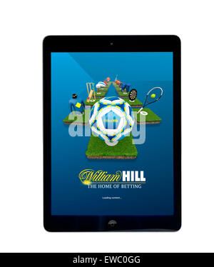 Online betting with the William Hill app on an Apple iPad Air tablet computer - Stock Photo