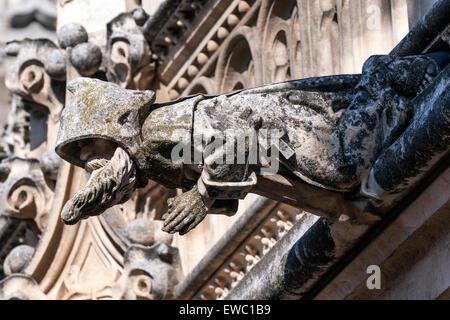 Gargoyle monk in Monastery of San Juan de los Reyes, Toledo - Stock Photo