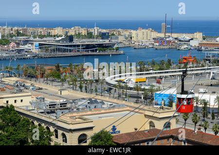 The Romantic route in Barcelona. Monjuic mountain. View of Barcelona Harbour. The red Teleferic cable car running - Stock Photo