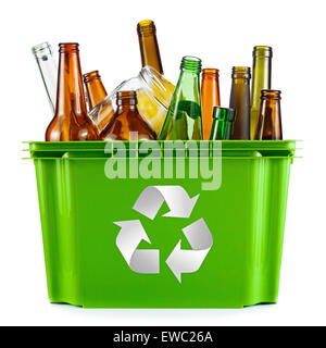 Recycling concept - bin full of glass - Stock Photo