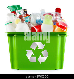 Recycling concept - bin full of empty plastic containers and bottles - Stock Photo