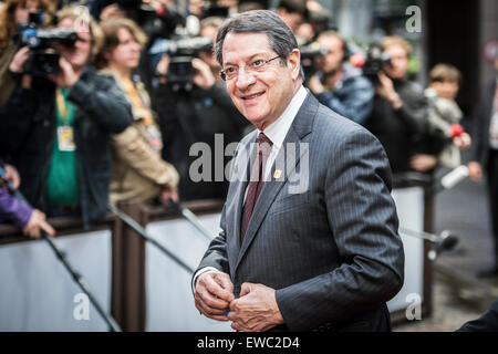 Brussels, Belgium. 22nd June, 2015. Cypriot President Nicos Anastaciades arrives at an emergency Eurogroup heads - Stock Photo