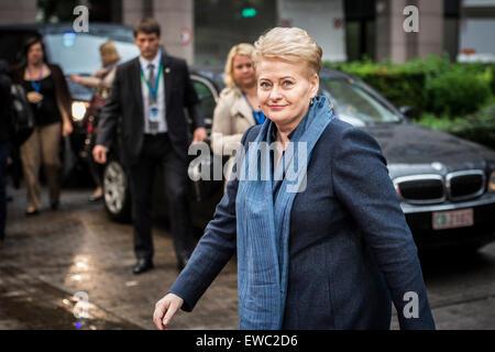 Brussels, Belgium. 22nd June, 2015. Lithuanian President Dalia Grybauskaite arrives at an emergency Eurogroup heads - Stock Photo