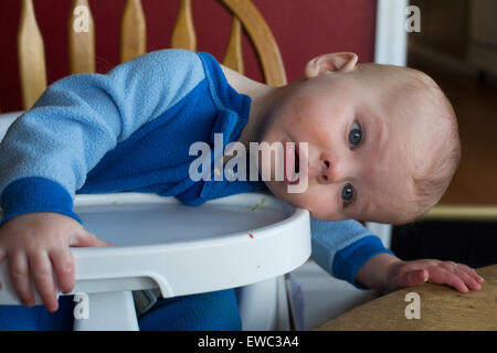 Wheat Ridge, Colorado - Ten-month-old Adam Hjermstad Jr.watches the world sideways from his high chair. - Stock Photo