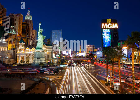Las Vegas Boulevard 'The Strip' long exposure night shot. View of MGM Grand Hotel and New York New York Hotel - Stock Photo