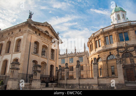 View of the Bodleian Library (Clarendon Building and Sheldonian Theatre), Oxford, United Kingdom - Stock Photo