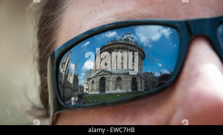 Reflection of the Radcliffe Camera, Bodleian Library, Oxford, United Kingdom - Stock Photo