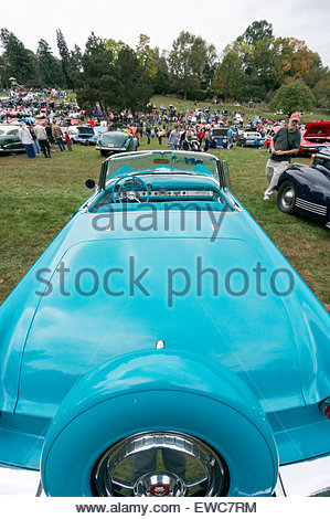Elongated rear view of a 1956 Ford Thunderbird convertible at the 2014 Rockville Antique & Classic Car Show in Maryland. - Stock Photo