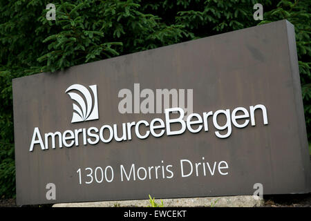 A logo sign outside of the headquarters of AmerisourceBergen in Chesterbrook, Pennsylvania. - Stock Photo