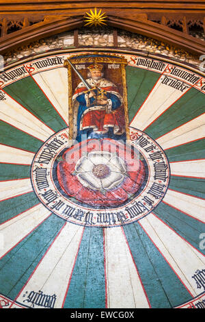 King Arthur`s round table in The Great Hall, Winchester, England, UK - Stock Photo
