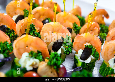 Delicious seafood canapes - Stock Photo