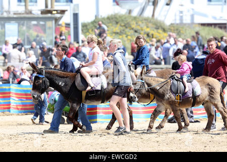 Happy children having donkey rides on the beach at Weston super Mare, June 2015 - Stock Photo