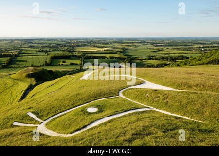 Uffington White Horse, Oxfordshire, England, UK. A prehistoric hill figure scoured into the side of a hill. - Stock Photo