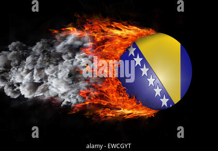 Concept of speed - Flag with a trail of fire and smoke - Bosnia - Stock Photo