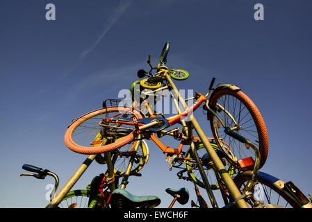 Bicycle installation, Burgenland, Austria, Neusiedlersee Seewinkel - Stock Photo